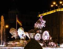 Άρμα λιονταριών με την πηγή στο plaza Ciebeles Στοκ εικόνα με δικαίωμα ελεύθερης χρήσης