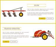 Άροτρο και συρμένη καθορισμένη διανυσματική απεικόνιση ψεκαστήρων απεικόνιση αποθεμάτων