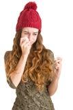 άρρωστη γυναίκα πυρετού στοκ φωτογραφία με δικαίωμα ελεύθερης χρήσης