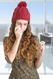 άρρωστη γυναίκα πυρετού στοκ εικόνα