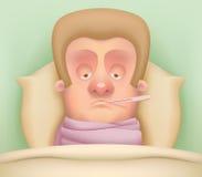 άρρωστοι χαρακτήρα κινουμένων σχεδίων Στοκ φωτογραφία με δικαίωμα ελεύθερης χρήσης