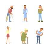 Άρρωστοι χαρακτήρες ανθρώπων ελεύθερη απεικόνιση δικαιώματος