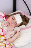 Άρρωστος ύπνος κοριτσιών Στοκ εικόνες με δικαίωμα ελεύθερης χρήσης