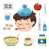 Άρρωστο αγόρι με το θερμόμετρο στο στόμα του Κακό συναίσθημα διανυσματική απεικόνιση