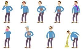 Άρρωστο σύνολο χαρακτήρων ανθρώπων με τον πόνο και Στοκ εικόνα με δικαίωμα ελεύθερης χρήσης
