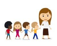 Δάσκαλος με τα παιδιά στο άσπρο υπόβαθρο Στοκ Εικόνες