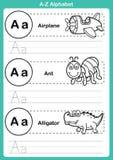 Άσκηση αλφάβητου AZ με το λεξιλόγιο κινούμενων σχεδίων για το χρωματισμό του βιβλίου Στοκ φωτογραφίες με δικαίωμα ελεύθερης χρήσης