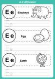 Άσκηση αλφάβητου AZ με το λεξιλόγιο κινούμενων σχεδίων για το χρωματισμό του βιβλίου Στοκ εικόνα με δικαίωμα ελεύθερης χρήσης