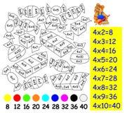 Άσκηση για τα παιδιά με τον πολλαπλασιασμό από τέσσερα - πρέπει να χρωματίσετε την εικόνα στο σχετικό χρώμα Στοκ Φωτογραφία