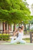 Άσκηση γιόγκας στο πάρκο στοκ εικόνα με δικαίωμα ελεύθερης χρήσης