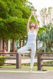 Άσκηση γιόγκας στο πάρκο στοκ φωτογραφίες