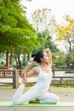 Άσκηση γιόγκας στο πάρκο στοκ εικόνες