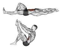 άσκηση Κάμψη του κορμού με τα πόδια που σηκώνουν το πόδι απεικόνιση αποθεμάτων