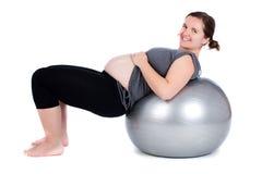 άσκηση της έγκυου γυναίκ στοκ εικόνα