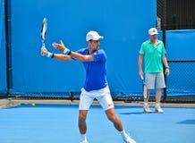 Άσκηση Djokovic Novak με Boris Becker Στοκ εικόνες με δικαίωμα ελεύθερης χρήσης