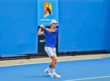 Άσκηση Djokovic Novak στον Αυστραλό ανοικτό Στοκ Εικόνες