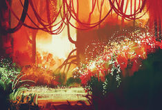 Δάσος φθινοπώρου φαντασίας Στοκ εικόνα με δικαίωμα ελεύθερης χρήσης