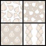 Άσπρα άνευ ραφής σχέδια σκόρδου καθορισμένα Στοκ φωτογραφία με δικαίωμα ελεύθερης χρήσης