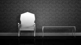 Άσπρα έδρα και τραπεζάκι σαλονιού Στοκ φωτογραφία με δικαίωμα ελεύθερης χρήσης