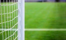 Άσπρα δίχτυα ποδοσφαίρου, ποδόσφαιρο Στοκ εικόνα με δικαίωμα ελεύθερης χρήσης