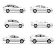 Άσπρα αυτοκίνητα καθορισμένα Στοκ φωτογραφία με δικαίωμα ελεύθερης χρήσης