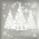 Άσπρα αφηρημένα χριστουγεννιάτικα δέντρα στο γκρίζο υπόβαθρο ελεύθερη απεικόνιση δικαιώματος