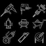 Άσπρα εικονίδια περιλήψεων για τον εξοπλισμό κατασκευής Στοκ Φωτογραφίες