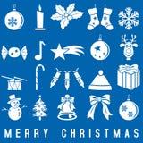 Άσπρα εικονίδια Χριστουγέννων Στοκ φωτογραφία με δικαίωμα ελεύθερης χρήσης