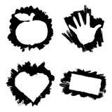 Άσπρα εμβλήματα στα μαύρα κτυπήματα μελανιού Στοκ φωτογραφίες με δικαίωμα ελεύθερης χρήσης