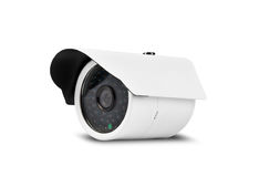 Άσπρα κάμερα ασφαλείας με το ψαλίδισμα της πορείας στοκ εικόνες