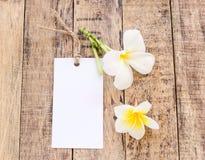 Άσπρα κάρτα και λουλούδι Plumeria σε ξύλινο Στοκ φωτογραφίες με δικαίωμα ελεύθερης χρήσης