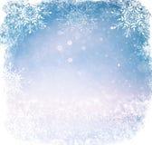 Άσπρα και ασημένια αφηρημένα φω'τα bokeh το υπόβαθρο με snowflake την επικάλυψη Στοκ Εικόνα
