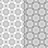 Άσπρα και γκρίζα floral διακοσμητικά σχέδια άνευ ραφής σύνολο προτύπων Στοκ φωτογραφία με δικαίωμα ελεύθερης χρήσης