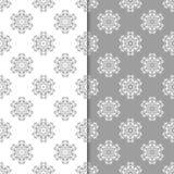 Άσπρα και γκρίζα floral υπόβαθρα άνευ ραφής σύνολο προτύπων Στοκ Εικόνες