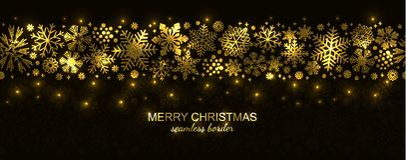 Άσπρα και κόκκινα άνευ ραφής snowflake σύνορα, Χριστούγεννα διανυσματική απεικόνιση