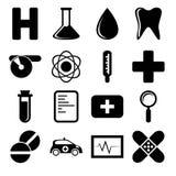Άσπρα και μαύρα εικονίδια υγείας Στοκ εικόνες με δικαίωμα ελεύθερης χρήσης