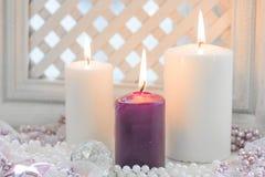 Άσπρα και πορφυρά κεριά Χριστουγέννων Στοκ εικόνα με δικαίωμα ελεύθερης χρήσης