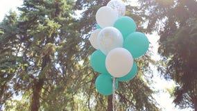 Άσπρα και πράσινα μπαλόνια πηκτωμάτων σε έναν γάμο στο πάρκο απόθεμα βίντεο