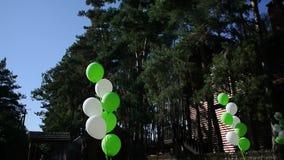 Άσπρα και πράσινα μπαλόνια σε διακοπές φιλμ μικρού μήκους