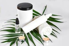 Άσπρα καλλυντικά προϊόντα και πράσινο φύλλο στο άσπρο υπόβαθρο Φυσικά προϊόντα ομορφιάς για το μαρκάρισμα της έννοιας προτύπων Στοκ φωτογραφία με δικαίωμα ελεύθερης χρήσης