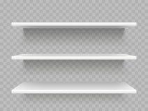 Άσπρα κενά ράφια προϊόντων Επίδειξη υπεραγορών, προωθητικό διανυσματικό πρότυπο ραφιών μαγαζιό ελεύθερη απεικόνιση δικαιώματος
