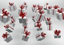 Άσπρα κιβώτια δώρων με τις κόκκινες κορδέλλες Στοκ εικόνα με δικαίωμα ελεύθερης χρήσης