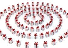 Άσπρα κιβώτια δώρων με τις πορφυρές κορδέλλες Στοκ Εικόνες