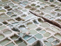 Άσπρα κοιλώματα χρωστικών ουσιών του εργοστασίου δέρματος στο Fez του Μαρόκου Στοκ Φωτογραφία