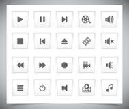 Άσπρα κουμπιά μέσων στοκ φωτογραφία με δικαίωμα ελεύθερης χρήσης