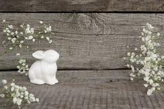 Άσπρα κουνέλι και αυγά στο εκλεκτής ποιότητας ξύλινο υπόβαθρο Υπόβαθρο Πάσχας ` s κάρτα αναδρομική Στοκ εικόνα με δικαίωμα ελεύθερης χρήσης