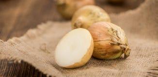 Άσπρα κρεμμύδια, εκλεκτική εστίαση Στοκ Εικόνες