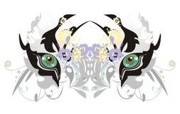 Άσπρα μάτια τιγρών με τα floral στοιχεία Στοκ Φωτογραφία