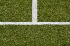 άσπρα μέσα γραμμή και πάρεργο σε μια πράσινη τύρφη Στοκ Εικόνες