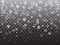 Άσπρα μειωμένα χιόνι και snowflakes απεικόνιση αποθεμάτων